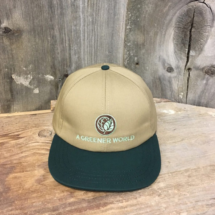 A Greener World branded hat with embroidered logo